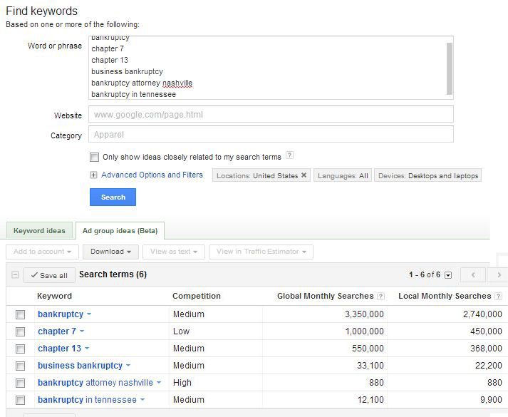 The keyword research tool can help you find unseen opportunities for keyword targeting