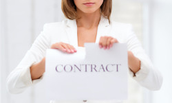 concentrated businesswoman tearing contract