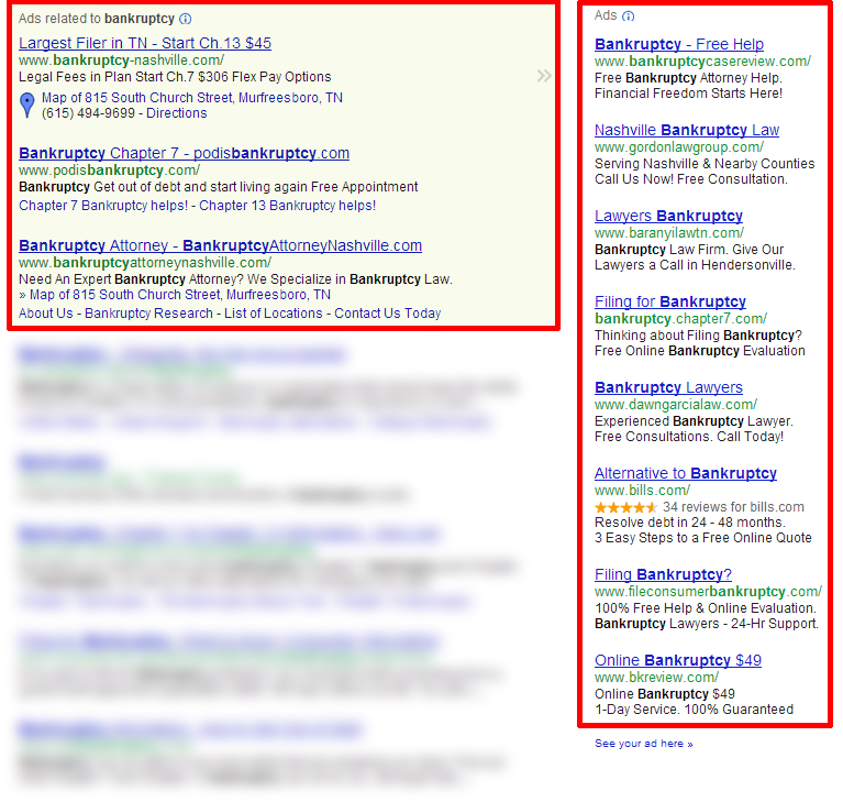 Google and Bing rank ads from 1-11
