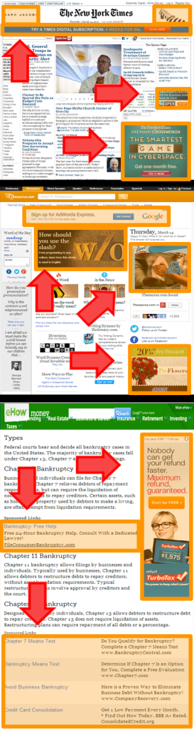 Popular websites like the New York Tiimes, eHow.com, and Thesaurus.com have lots of ad space where you can advertise
